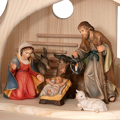 Bethlehem Crib in wood - Folk Nativitis Salcher