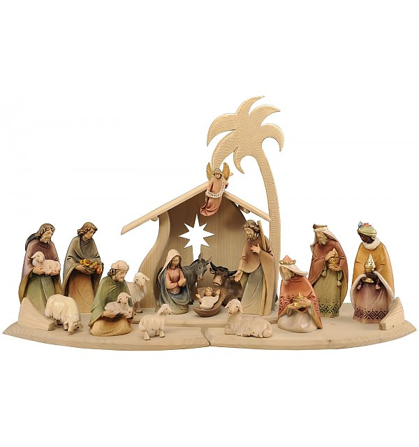 1800 - Presepe Morgenstern 17 Figurine con Capanna COLOR