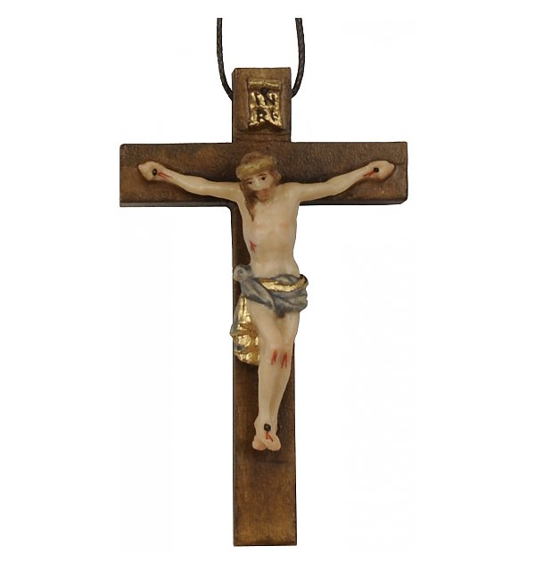 3118 - Necklace - cross with Jesus wood carved COLOR