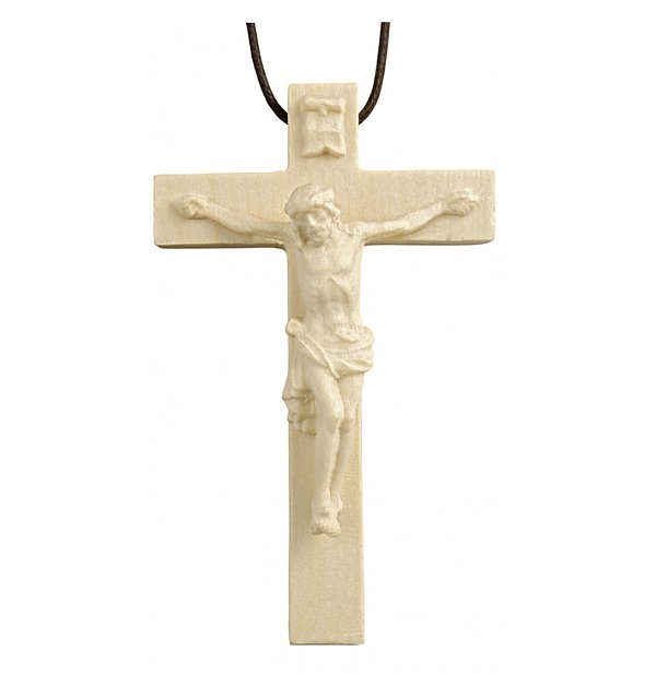 3118 - Necklace - cross with Jesus wood carved NAT_AHORN