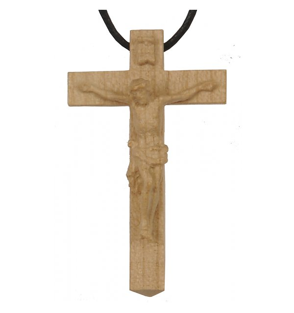 3118 - Necklace - cross with Jesus wood carved NAT_KIRSCH