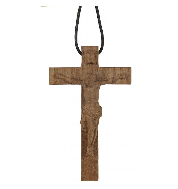 3118 - Necklace - cross with Jesus wood carved NAT_NUSS