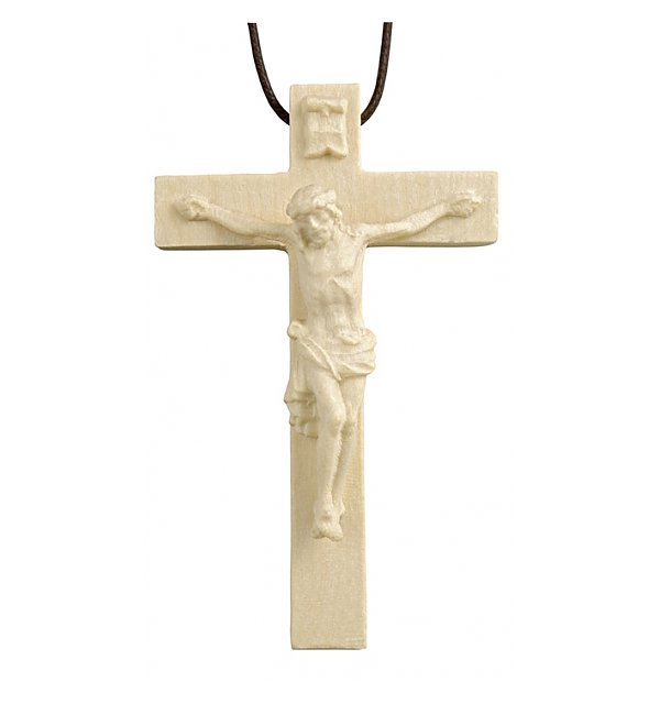 3118 - Necklace - cross with Jesus wood carved NATUR
