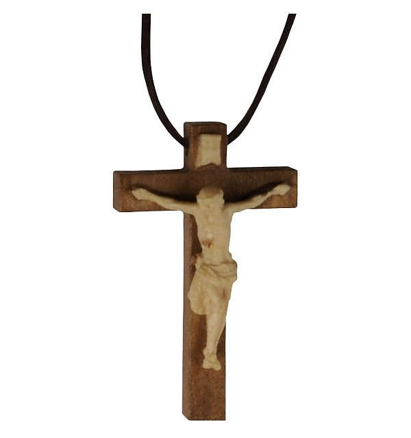 3118 - Necklace - cross with Jesus wood carved TON2
