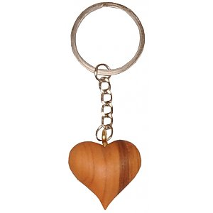 0035 - Keyring Pendant - with Heart of precious wood