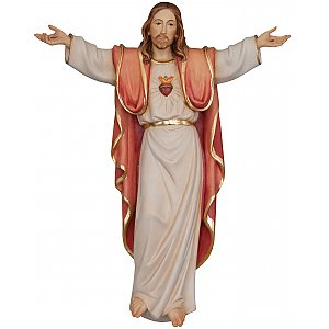 3215 - Sacred Heart of Jesus wooden statue wall